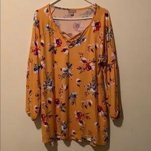 Honey mustard w floral pattern long sleeve tunic